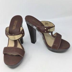 Michael Kors Brown Leather Heel Sandals 8.5M